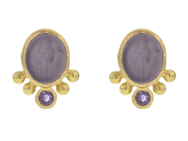 "Elizabeth Locke Mulberry Venetian Glass Intaglio ""Micro Angel and Dog"" Stud Earrings With Bottom Faceted Amethyst thumbnail"