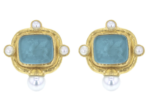 "Elizabeth Locke Teal Venetian Glass Intaglio ""Square Pegasus"" Earrings with Pearls thumbnail"