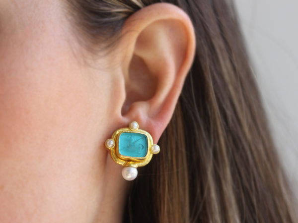 "Elizabeth Locke Teal Venetian Glass Intaglio ""Square Pegasus"" Earrings with Pearls"
