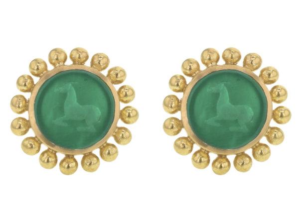 "Elizabeth Locke Green Venetian Glass Intaglio ""Tiny Horse"" Stud Earrings thumbnail"