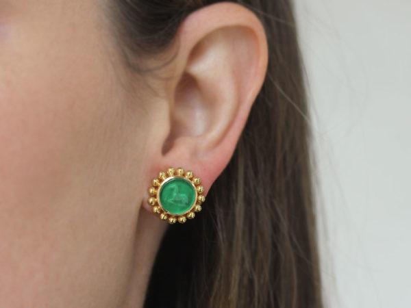 """Elizabeth Locke Green Venetian Glass Intaglio """"Tiny Horse"""" Stud Earrings"""