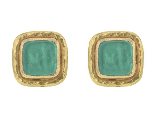 """Elizabeth Locke Green Venetian Glass Intaglio """"Quadrato Antico"""" Stud Earrings in Narrow Bezel with Butterfly Back thumbnail"""