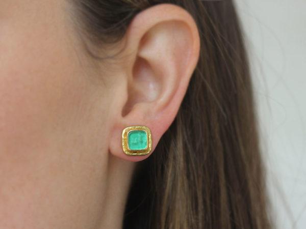"""Elizabeth Locke Green Venetian Glass Intaglio """"Quadrato Antico"""" Stud Earrings in Narrow Bezel with Butterfly Back"""
