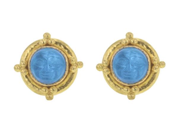 "Elizabeth Locke Swimming Pool Venetian Glass Intaglio ""Man-in-the-Moon"" Studs With Four Gold Triads thumbnail"