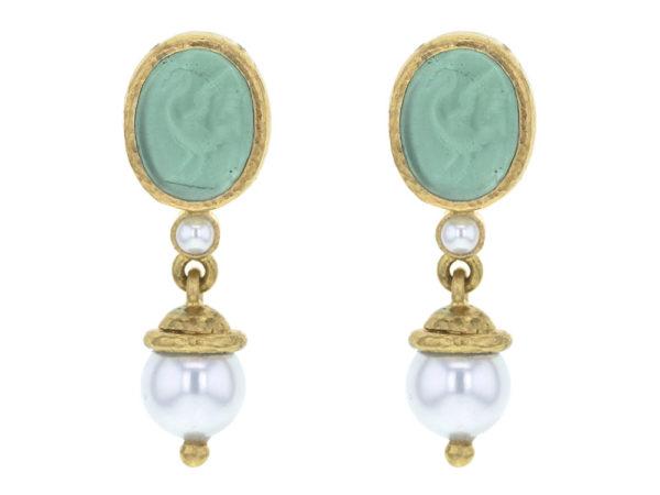 "Elizabeth Locke Nile Venetian Glass Intaglio ""Crane"" With Pearl Stud Earrings thumbnail"