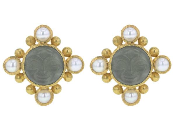 """Elizabeth Locke Smoke Venetian Glass Intaglio """"Man-in-the-Moon"""" Stud Earrings with Pearls thumbnail"""