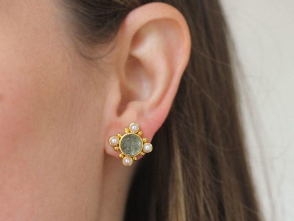 """Elizabeth Locke Smoke Venetian Glass Intaglio """"Man-in-the-Moon"""" Stud Earrings with Pearls"""