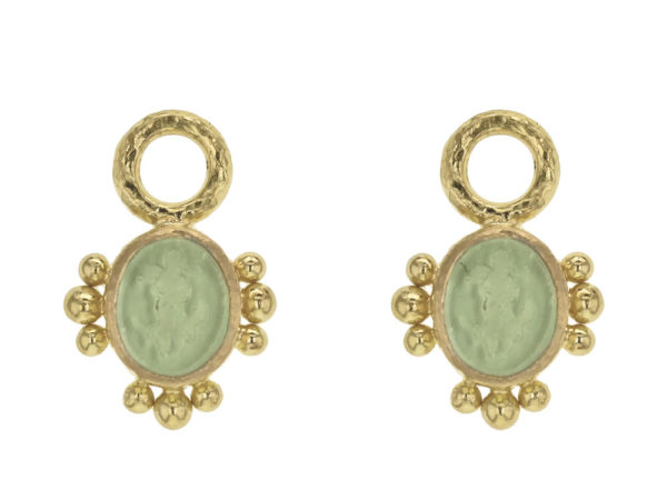 """Elizabeth Locke Lime Venetian Glass Intaglio """"Micro Angel and Dog"""" Earring Charms with Three Sets of Gold Dots thumbnail"""