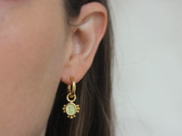 """Elizabeth Locke Lime Venetian Glass Intaglio """"Micro Angel and Dog"""" Earring Charms with Three Sets of Gold Dots"""