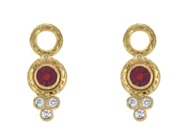 Elizabeth Locke Round Faceted Red Spinel Earring Charms for Hoops with Bottom Diamond Triad thumbnail