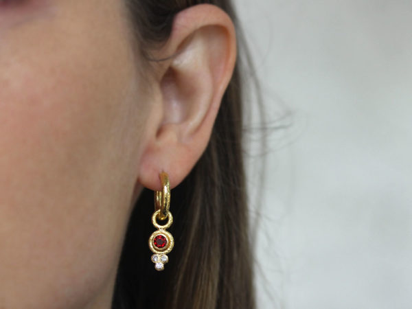 Elizabeth Locke Round Faceted Red Spinel Earring Charms for Hoops with Bottom Diamond Triad