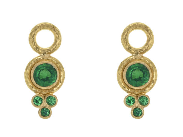 Elizabeth Locke Round Faceted Tsavorite Earring Charms for Hoops with Bottom Faceted Tsavorite Triad thumbnail