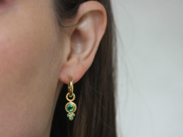 Elizabeth Locke Round Faceted Tsavorite Earring Charms for Hoops with Bottom Faceted Tsavorite Triad