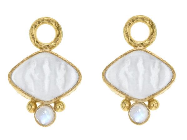 "Elizabeth Locke Crystal Venetian Glass Intaglio ""Rombo"" Earring Charms for Hoops with Moonstone thumbnail"