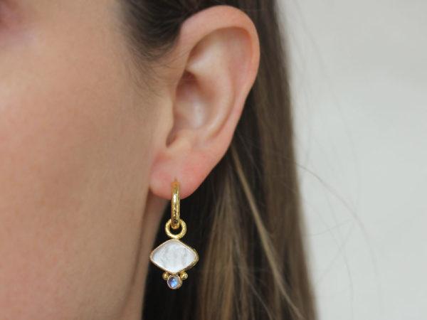 "Elizabeth Locke Crystal Venetian Glass Intaglio ""Rombo"" Earring Charms for Hoops with Moonstone"