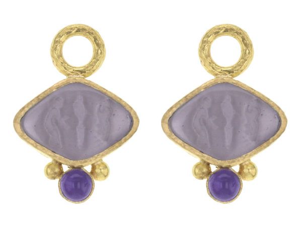 "Elizabeth Locke Mulberry Venetian Glass Intaglio ""Rombo"" Earring Charms for Hoops with Cabochon Amethysts thumbnail"