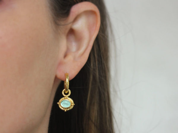 "Elizabeth Locke Nile Venetian Glass Intaglio ""Micro Horse"" with Gold Triads Earring Charms for Hoops"