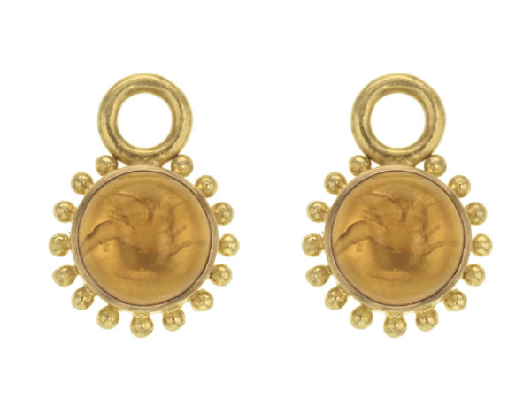 """Elizabeth Locke Light Amber Venetian Glass Intaglio """"Cab Tiny Griffin"""" with Granulation Earring Charms for Hoops thumbnail"""