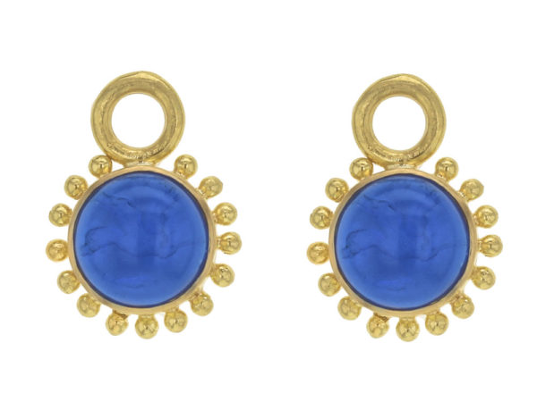 """Elizabeth Locke Peacock Venetian Glass Intaglio """"Cab Tiny Griffin"""" with Granulation Earring Charms for Hoops thumbnail"""