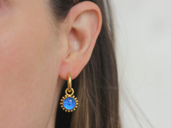 """Elizabeth Locke Peacock Venetian Glass Intaglio """"Cab Tiny Griffin"""" with Granulation Earring Charms for Hoops"""