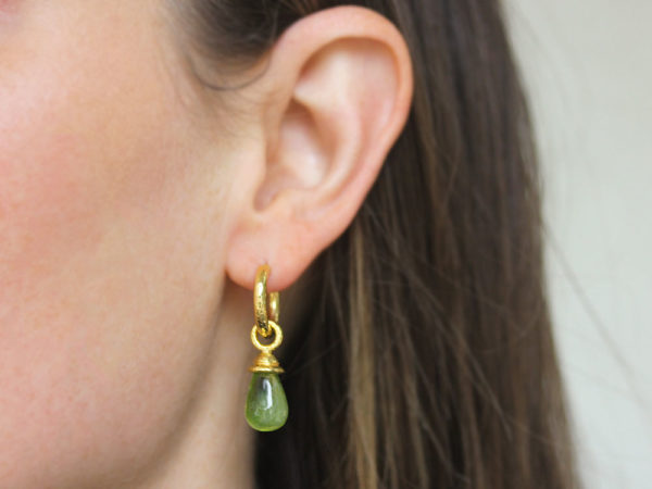 Elizabeth Locke Peridot Drop Earring Charms With Acorn Cap model shot #1