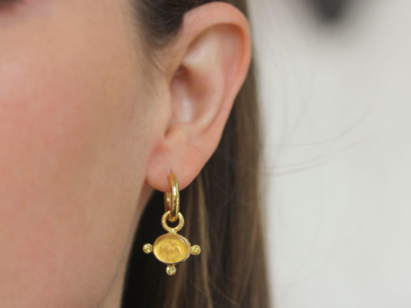 "Elizabeth Locke Light Amber Venetian Glass Intaglio ""Tiny Lion"" Earring Charms with Faceted Citrine"