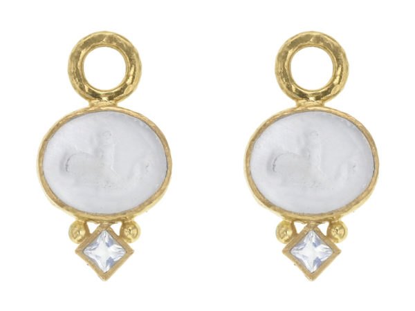 "Elizabeth Locke Crystal Venetian Glass Intaglio ""Dolphin"" Earring Charms with Moonstone thumbnail"