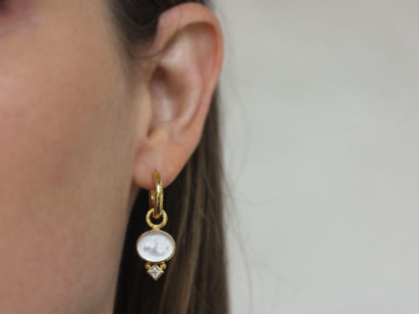 "Elizabeth Locke Crystal Venetian Glass Intaglio ""Dolphin"" Earring Charms with Moonstone"