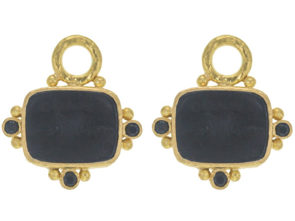 """Elizabeth Locke Black Venetian Glass Intaglio """"Two Cranes"""" Earring Charms With Faceted Black Spinels thumbnail"""