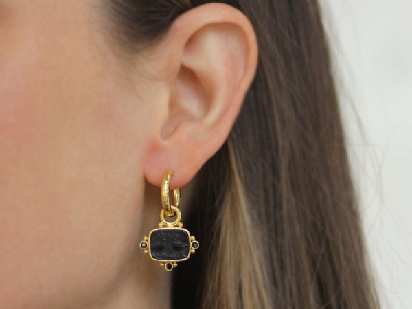 """Elizabeth Locke Black Venetian Glass Intaglio """"Two Cranes"""" Earring Charms With Faceted Black Spinels"""