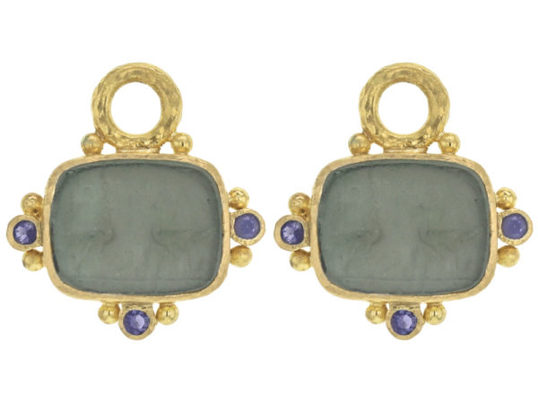 """Elizabeth Locke Smoke Venetian Glass Intaglio """"Two Cranes"""" Earring Charms With Faceted Iolites thumbnail"""