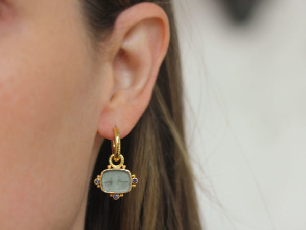 """Elizabeth Locke Smoke Venetian Glass Intaglio """"Two Cranes"""" Earring Charms With Faceted Iolites"""
