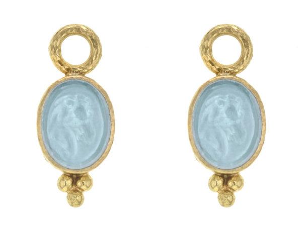 "Elizabeth Locke Light Aqua Venetian Glass Intaglio ""Horse Profile"" Earring Charms With Thin Bezel and Bottom Triad thumbnail"