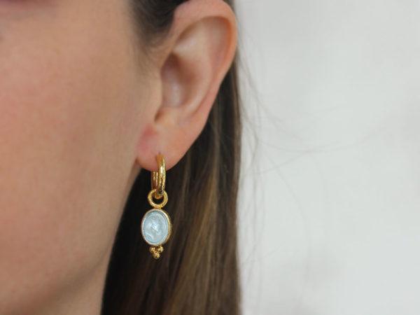 "Elizabeth Locke Light Aqua Venetian Glass Intaglio ""Horse Profile"" Earring Charms With Thin Bezel and Bottom Triad"