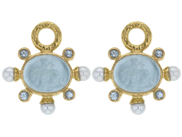 """Elizabeth Locke Light Aqua Venetian Glass Intaglio """"Tiny Lion"""" Earring Charms With Pearls and Faceted Moonstone thumbnail"""