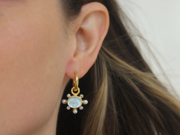 """Elizabeth Locke Light Aqua Venetian Glass Intaglio """"Tiny Lion"""" Earring Charms With Pearls and Faceted Moonstone"""