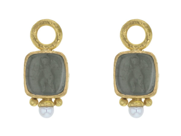 "Elizabeth Locke Smoke Venetian Glass Intaglio ""Square Putto"" Earring Charms With Pearls for Hoops thumbnail"