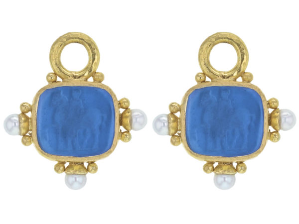 """Elizabeth Locke Peacock Venetian Glass Intaglio """"God with Horse"""" Earring Charms For Hoops with Pearl and Side Gold Dots thumbnail"""