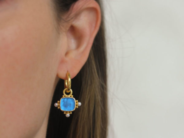 """Elizabeth Locke Peacock Venetian Glass Intaglio """"God with Horse"""" Earring Charms For Hoops with Pearl and Side Gold Dots"""