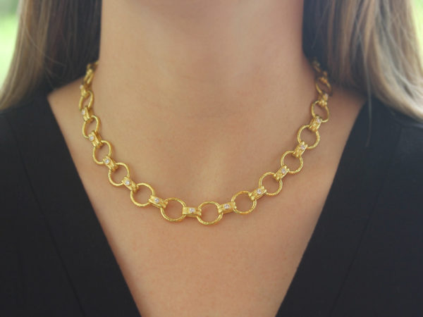 "Elizabeth Locke 17"" Diamond ""Rimini"" Link Necklace with Diamond-Tipped Toggle & Ring Closure model shot #2"