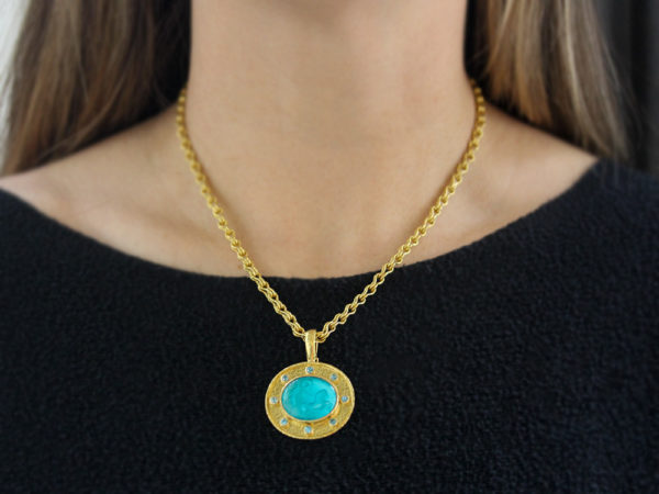 "Elizabeth Locke Teal Venetian Glass Intaglio ""Reverse Cabochon Goddess with Chariot"" Pendant With Blue Zircon"