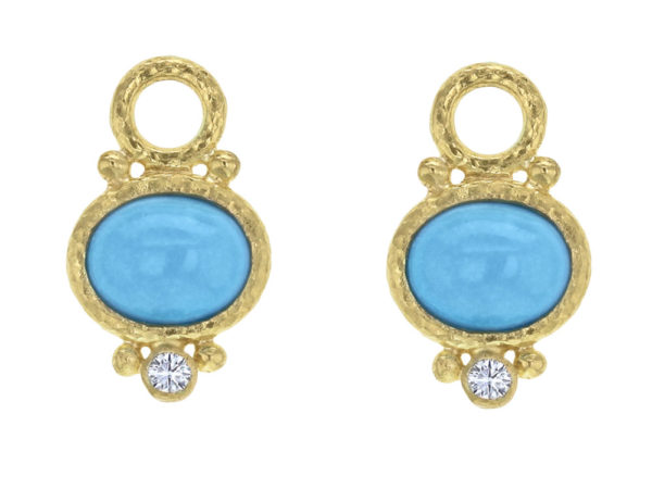 Elizabeth Locke Horzontal Oval Turquoise and Diamond Earring Charms thumbnail
