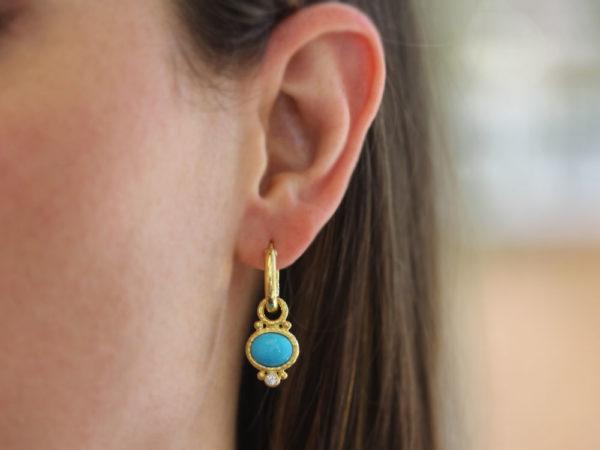 Elizabeth Locke Horzontal Oval Turquoise and Diamond Earring Charms model shot #2
