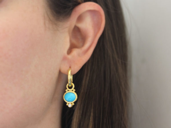 Elizabeth Locke Horzontal Oval Turquoise and Diamond Earring Charms