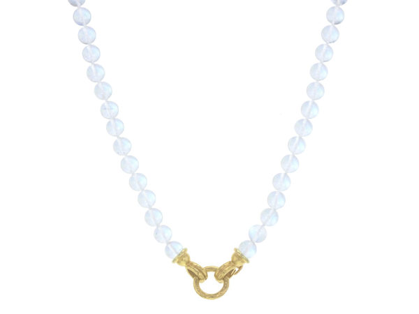 "Elizabeth Locke 17"" ""Silvana"" Clasp Necklace With 7mm Moonstone Beads thumbnail"