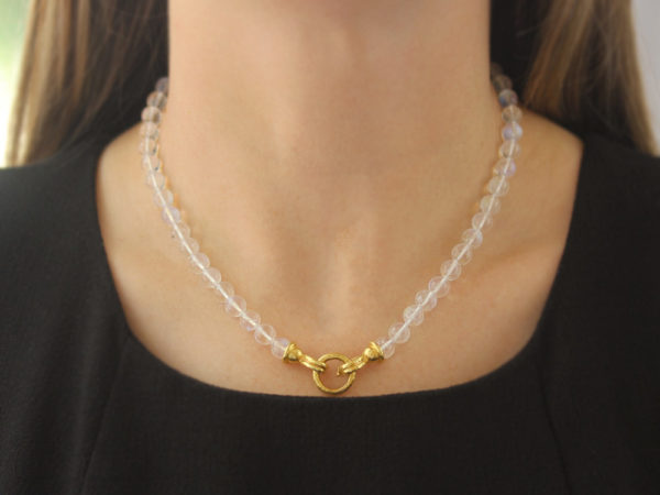"Elizabeth Locke 17"" ""Silvana"" Clasp Necklace With 7mm Moonstone Beads"
