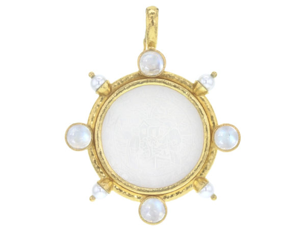 Elizabeth Locke 18th Century Chinese Gambling Counter Pendant with Pearls and Moonstone thumbnail