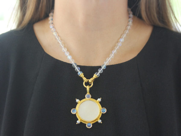 Elizabeth Locke 18th Century Chinese Gambling Counter Pendant with Pearls and Moonstone