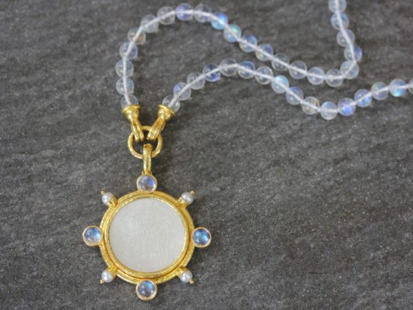Elizabeth Locke 18th Century Chinese Gambling Counter Pendant with Pearls and Moonstone model shot #2