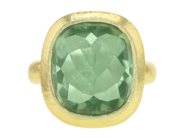 Elizabeth Locke Vertical Cushion Faceted Green Tourmaline ring with Flat Step Bezel and Thin Shank thumbnail
